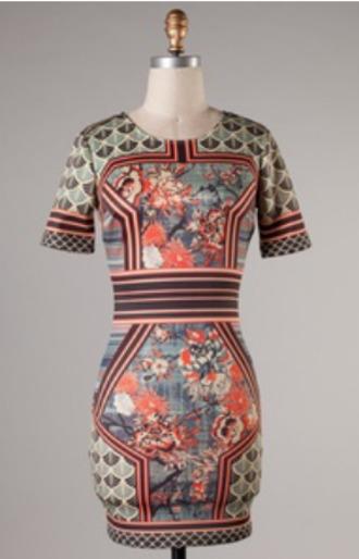 dress multicolor polyester spandex mini dress bodycon