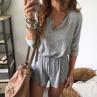 dress grey romper casual