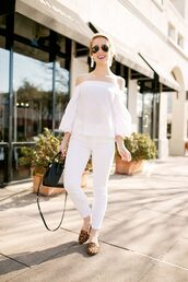 lonestar southern,blogger,top,blouse,jeans,jewels,shoes,sunglasses,bag,off the shoulder,smoking slippers,handbag