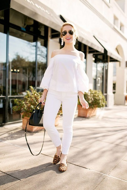 lonestar southern blogger top blouse jeans jewels shoes sunglasses bag off the shoulder smoking slippers handbag