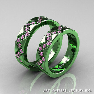 jewels green gold gold matching couples sapphire light pink sapphire wedding light pink engagement ring