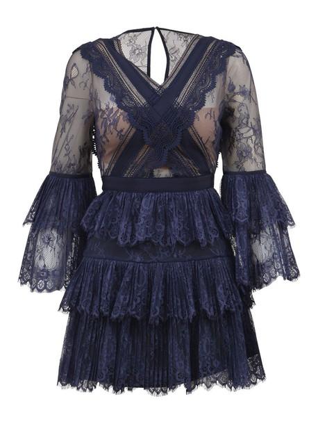 dress mini lace blue