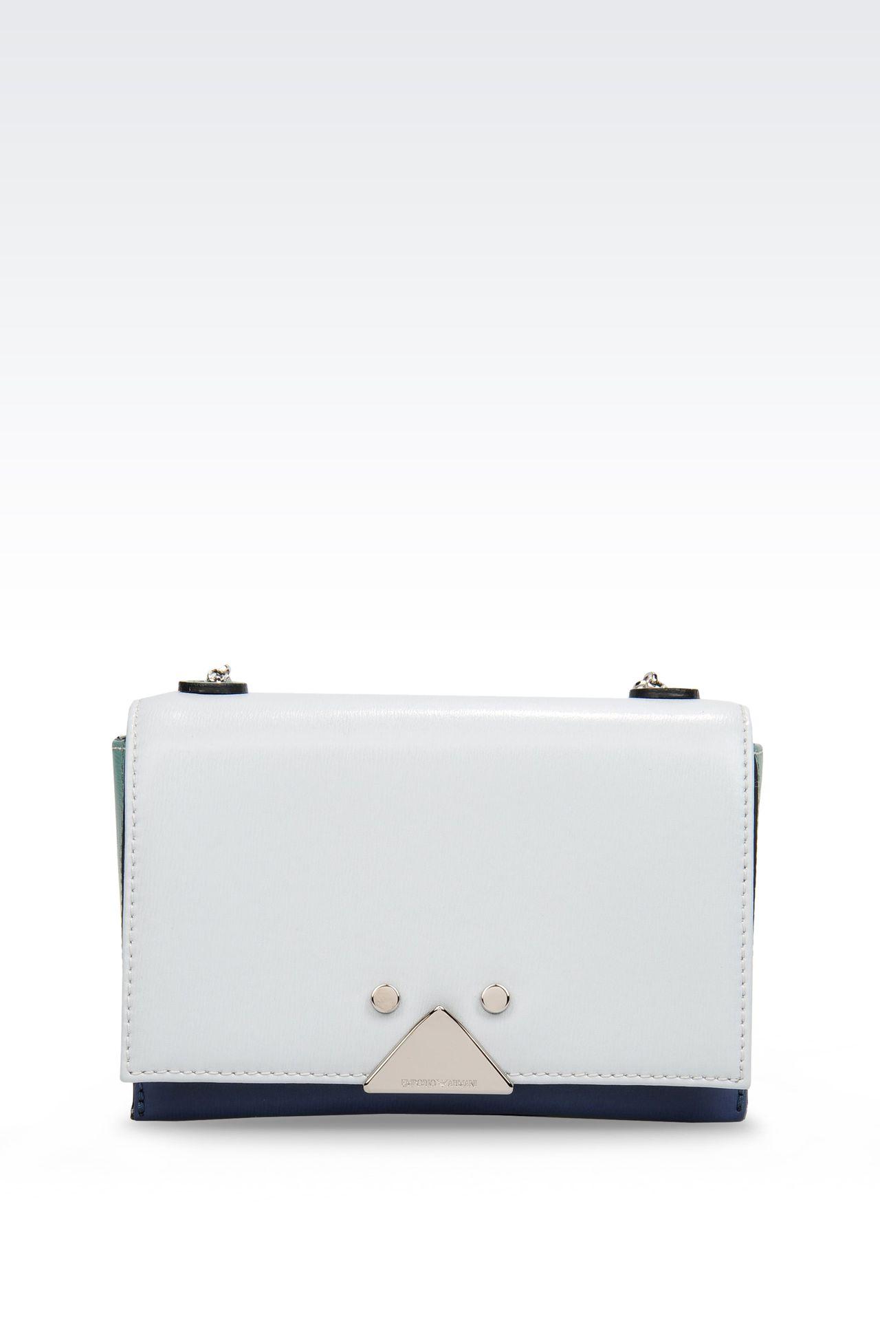 Emporio Armani Women Messenger Bag - SMALL BOARDED CALFSKIN BAG WITH CHAIN SHOULDER STRAP Emporio Armani Official Online Store