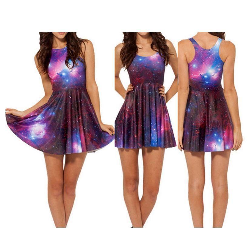 Summer Ladies Galaxy Purple Print Cute Pleated Skater Dress Sleeveless Club Wear | eBay