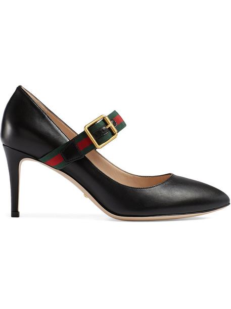 gucci heel women pumps leather black shoes