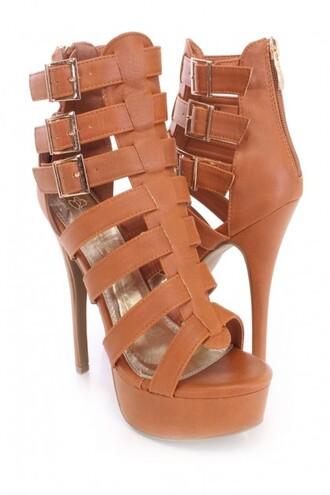 shoes booties sexy booties heels straps sexy tan booties amiclubwear cognac tan strappy heels
