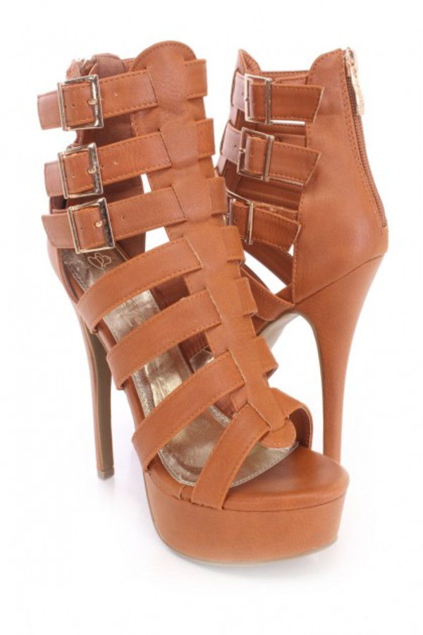 shoes booties sexy booties heels straps sexy tan booties amiclubwear cognac tan strappy heels