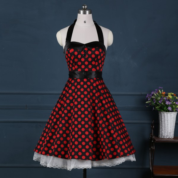 1e5cd629f0c Buy Red 50s Dress with White Polka Dot 50s Inspired Rockabilly Vintage Pinup  Swing Cocktail Dress ...