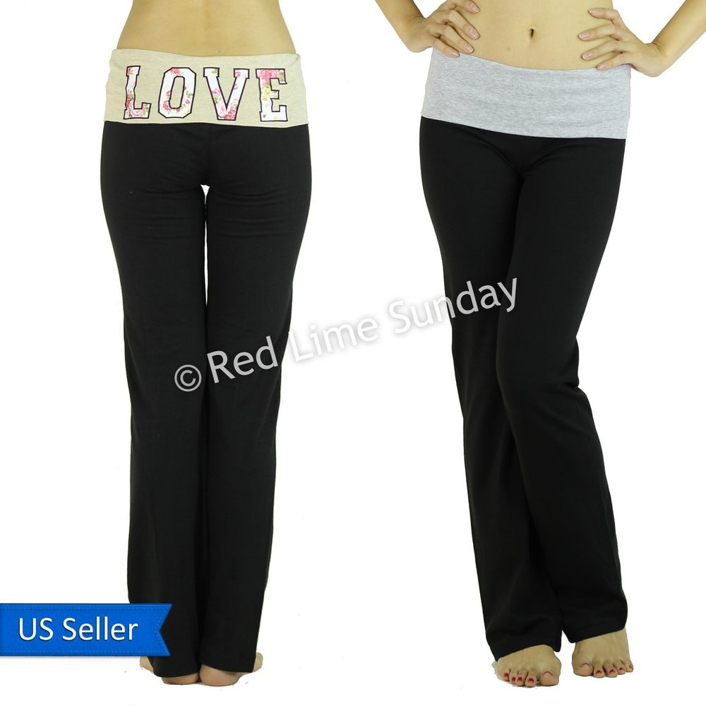 New Love Gray Taupe Black Fold Over Waist Yoga Pants Leggings Gym Sweat Bottoms