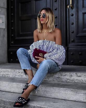 top tumblr off the shoulder off the shoulder top stripes striped top denim jeans blue jeans shoes slide shoes black shoes bag burgundy velvet round sunglasses sunglasses
