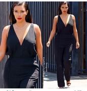 jumpsuit,black,kim kardashian,kardashians