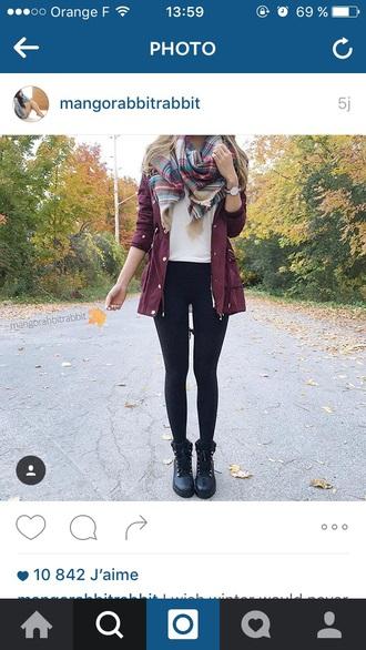 coat burgundy coat scarf