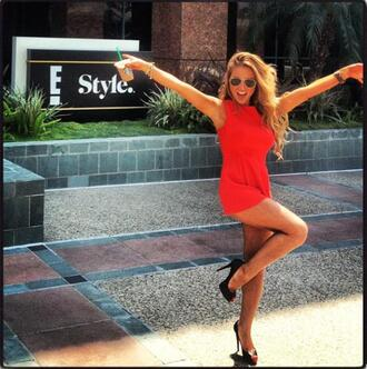 dress summer orange red outfit romper stilettos jessie james sunglasses