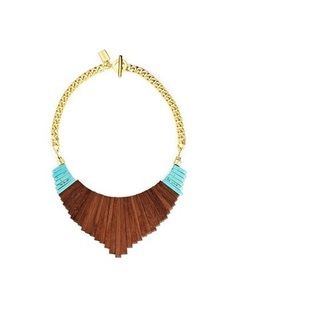 jewels wood turquoise gold necklace
