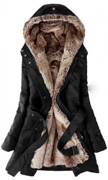 black coat faux fur jacket