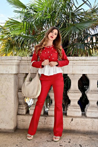 cosamimetto blogger top bag shoes red jacket red pants shoulder bag spring outfits sandals