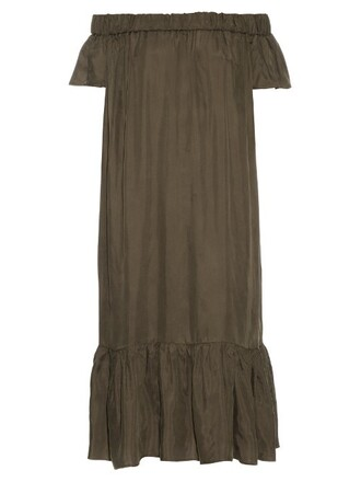 dress midi dress midi satin khaki
