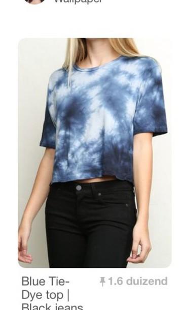 shirt blue top t-shirt tie dye shirt