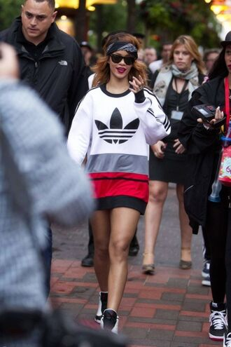 shirt rihanna adidas sunglasses bandana print ring lipstick scarf red lipstick jumper oversized sweater sweater red sweater black sweater shoes