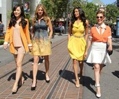 dress,rochelle haytes,kim youn jin,mistresses,jes macallan,alyssa milano,summer,summer dress,street,streetstyle,actress,yellow,yellow dress,orange,friends,tv series,elegant,summer outfits,pastel,clothes