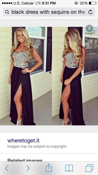 dress black dress sequins prom dress