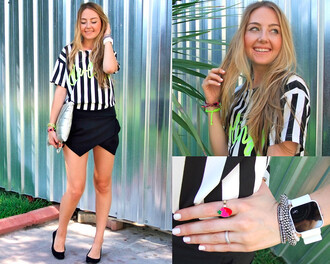 blouse stripes t-shirt colorblock white black top chic women blogger green purple