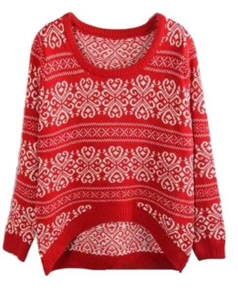 Red Jacquard Dipped Hem Sweater