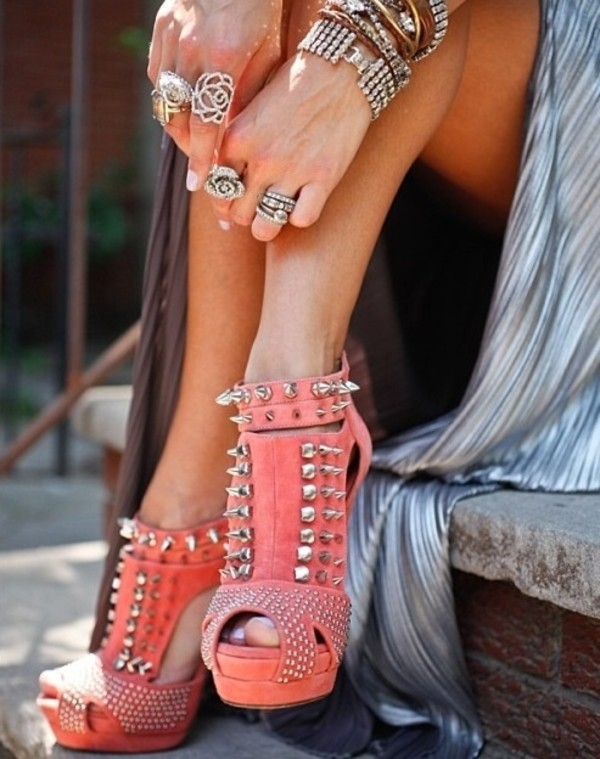 shoes coral high heels spikes metallic shoes pumps