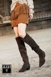 shoes,frye,knee length boots,suede knee length boots,brown knee length boots,brown suede boots,suede skirt,brown suede skirt,fringe skirt,70s style,brown leather boots
