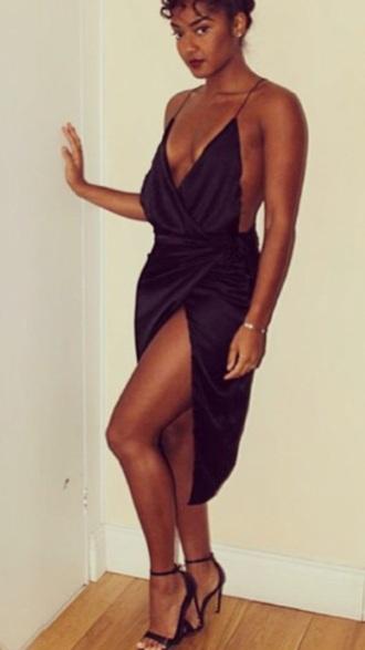 dress silk satin dress black dress black fashion style cute dress high low dress sexy sexy dress