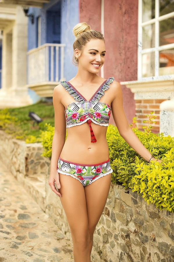 swimwear floral ruffle floral floral swimwear ruffled bikini tropical tropical swimwear bikini bikini top ruffle bandeau bikini bikini bottoms bikiniluxe swimwear two piece dope swimwear cheeky bikini
