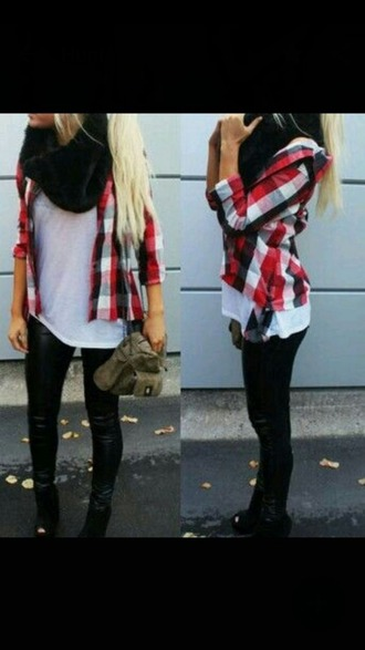 shirt flannel shirt red balck white girly