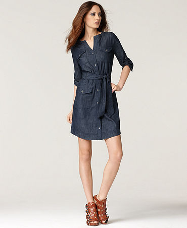 Klein Jeans Dress, Three Quarter Sleeve Belted Denim Shirtdress ...