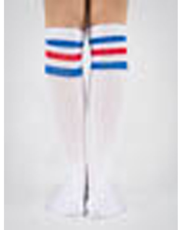 shoes blue white red fashion knee high socks socks collage