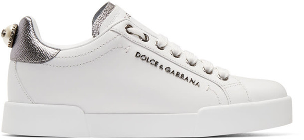 Dolce and Gabbana sneakers silver leather white shoes