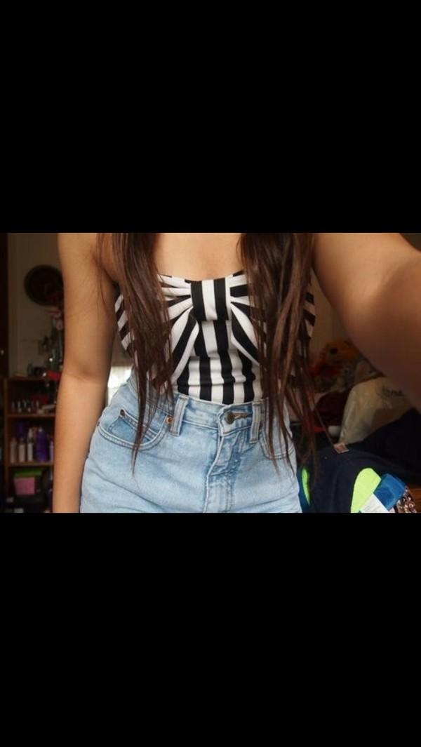 shirt stripes black and white bow cute