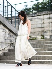 elodie in paris,blogger,dress,shoes,jewels,white dress,long dress,lace dress,black boots,open toes,summer outfits