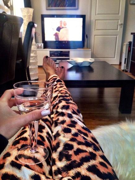 pants lepoard rihanna style kardashians style trouserse