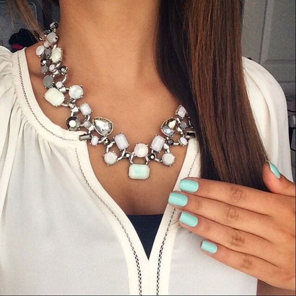 pearl jewels necklace white strass white jewelry shirt white shirt cute girly turquoise nail polish nail art nails art turquoise nailpolish
