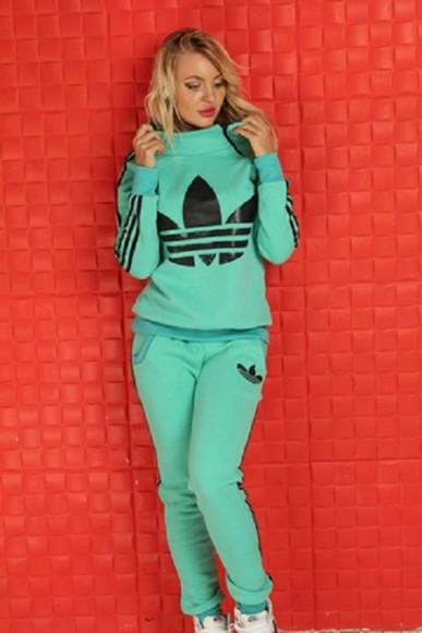 adidas pants jacket sweater sweatpants jumpsuit mint menthol longsleeve hoodie tracksuit sportswear outfit outwear sweatsuit