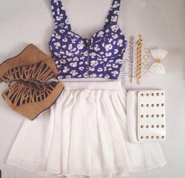 shirt skirt tank top cute white dress