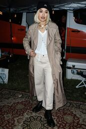 coat,pants,rita ora,celebrity,fall outfits,neutral colors