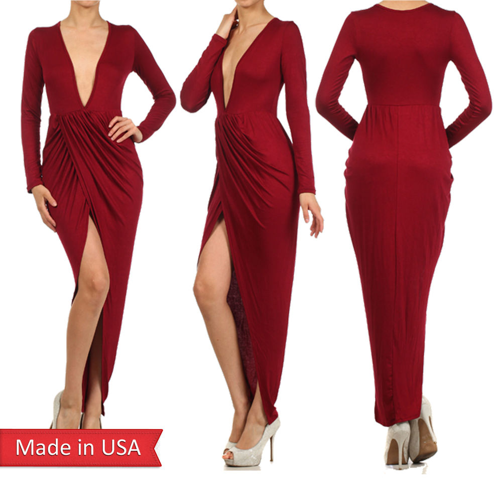 Burgundy Red Wrapped Asymmetrical Plunging V Neck Long