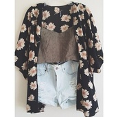 shorts,jacket,sweater,blouse,black,white,cardigan,daisy,crop tops,distressed denim shorts,flowers,coat,kimono daisies black white yellow,kimono,printed maxi skirt,tumblr,print,cute,pretty,summer,summer outfits,bold,flowerpower,love more,pull,floral,grey,fall outfits,looking for alaska,floral kimono