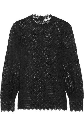 blouse lace black top