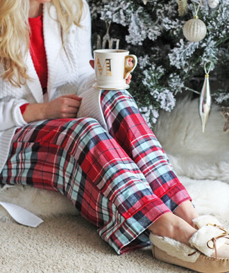 pajamas christmas pajamas holiday gift holiday season loafers cardigan white cardigan coffee tartan christmas