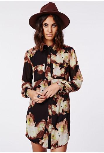 Holly oversized longline shirt dress floral print