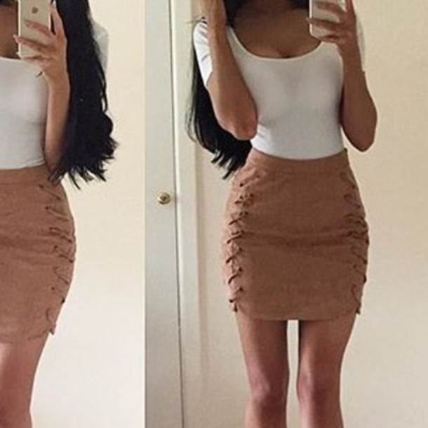 Skirt: brown, brown skirt, mini skirt, suede, brown suede, suede ...