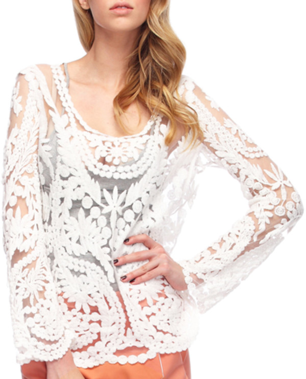 shirt white mesh lace t-shirt top blouse clothes fashion flowers floral