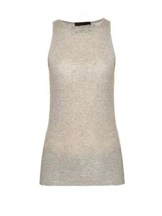 tank top top cotton light grey